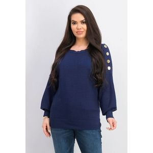 JM Collection Blue Ribbed Sweater Button Sleeve XL